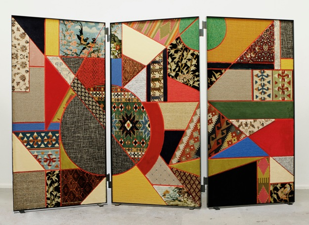 Nevin Aladağ Paravent, Social Fabric #2, 2012, Collage with carpet on wood, metal frame,  190 x 280 x 4 cm